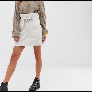 Free People Tie Up White Denim Skirt